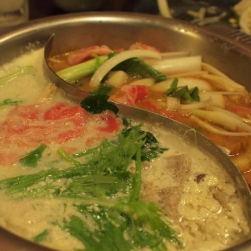 味噌すき焼き+豆乳コラーゲン鍋
